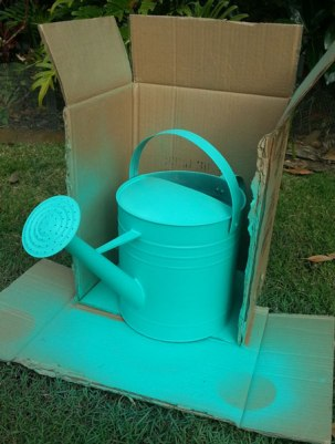 watering can - spray painted